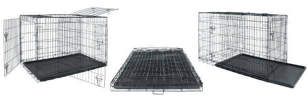3 views of a wire dog crate on white background