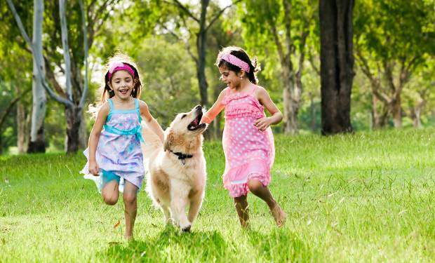Two girls running with a golden retriever away from some trees across grass