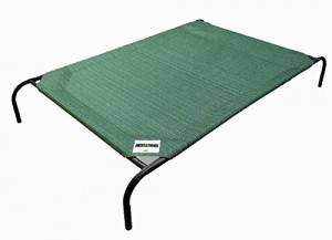 Grren knitted fabric Coolaroo Elevated Pet Bed on white bg