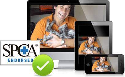 A graphic shoing the online dog trainer is endorsed by the NZ SPCA