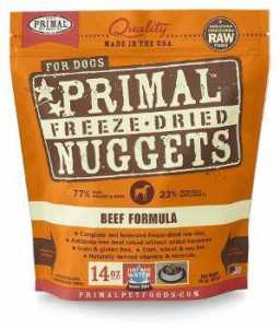 Packet of Primal Freeze-Dried Formula Beef isolated on white