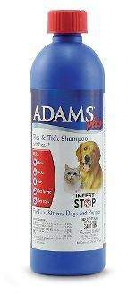 Adams plus flea shampoo isolated on white