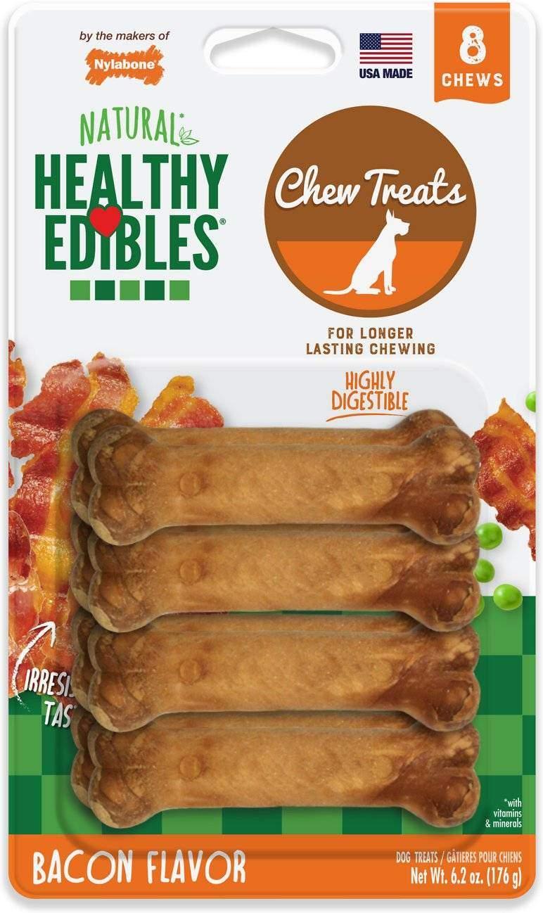 Nylabone Healthy Edibles Bacon Flavor Dog Bone Treats, Petite, 8 count