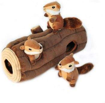 ZippyPaws Burrow Squeaky Hide & Seek Plush Dog Toy, Log & Chipmunks